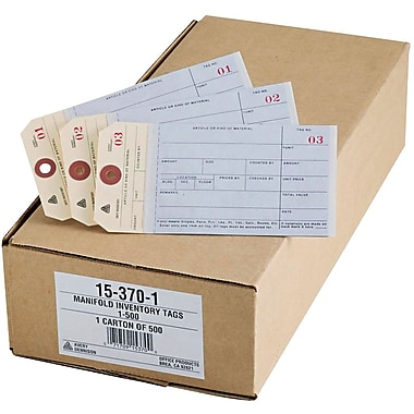 Avery(R) Manifold Inventory Tags 15370, Unstrung, Manila, Numbered 1-500, 6-1/4