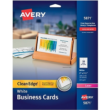 Avery® Clean Edge Two-Side Printable Laser Business Cards, White, 200/Cards