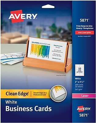 Avery Clean Edge Two-Side Printable Laser Business Cards, 2
