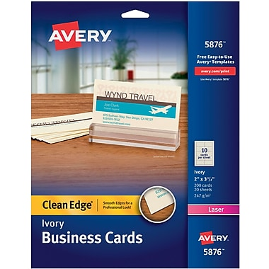 Avery® Clean Edge Two-Side Printable Laser Business Cards, Ivory, 200/Cards