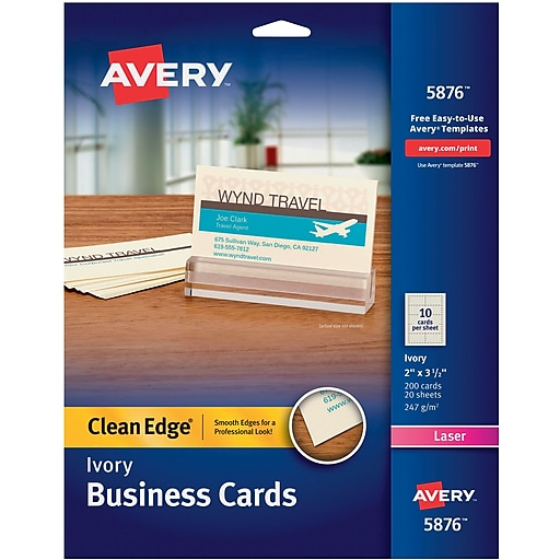 Avery clean edge two side printable laser business cards ivory httpsstaples 3ps7is reheart Image collections
