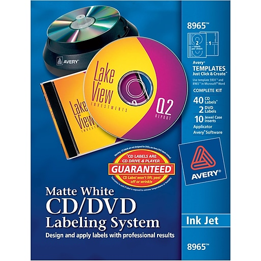 avery 8965 inkjet cd dvd design kit labeling system non glossy