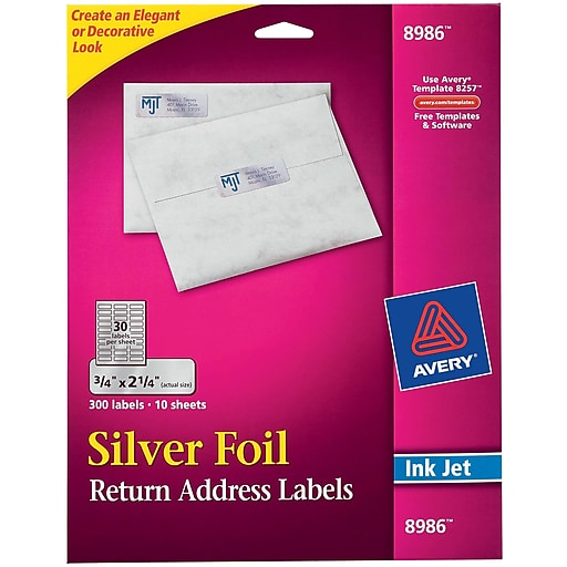 avery 0 75 x 2 25 inkjet labels silver foil 10 pack 8986 staples