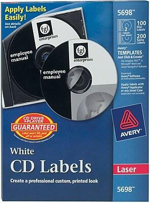 Avery Permanent Laser CD/DVD Labels 100 Disk/200 Spine Labels, White (5698)