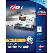 Avery® Clean Edge® Printable Business Card, 2'' x 3.5'', White, 400/Box (08877)
