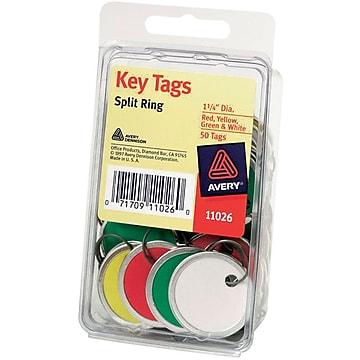 Avery Metal Rim Tags with Metal Key Ring, Assorted, 1 1/4  Diameter