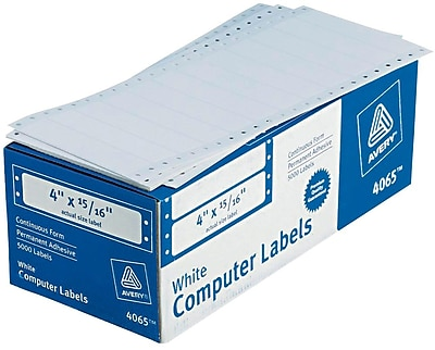 Avery® 4065 White Pin-Fed Computer Labels, 4