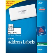 "Avery® 5363 White Copier Address Label, 1 3/8""(W) x 2 13/16""(L), 2400/Box"