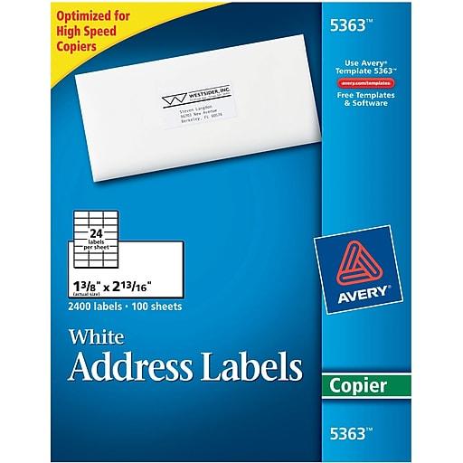 Avery 5363 White Copier Labels 1 38 X 2 1316 Staples
