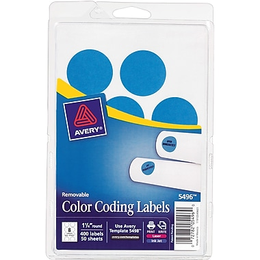 Avery 05496 Print Or Write Removable Color-Coding Label, Light Blue, 1 1/4