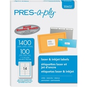 """PRES-a-ply 1.33"""" x 4"""" Laser Address Labels, White 100/Pack (30602)"""