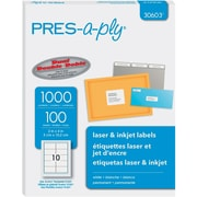 """PRES-a-ply 2"""" x 4"""" Laser Address Labels, White, 100/Pack (30603)"""