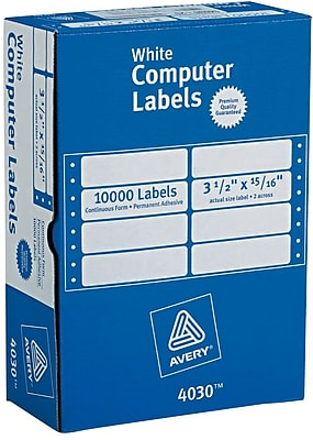 Avery® 4030 White Pin-Fed Computer Labels, 3-1/2