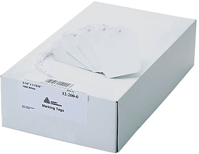 Avery(R) White Marking Tags 12200, Strung, 3-1/4