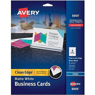 Avery clean edge inkjet print to the edge business cards white avery clean edge inkjet print to the edge business cards white matte finish reheart Choice Image