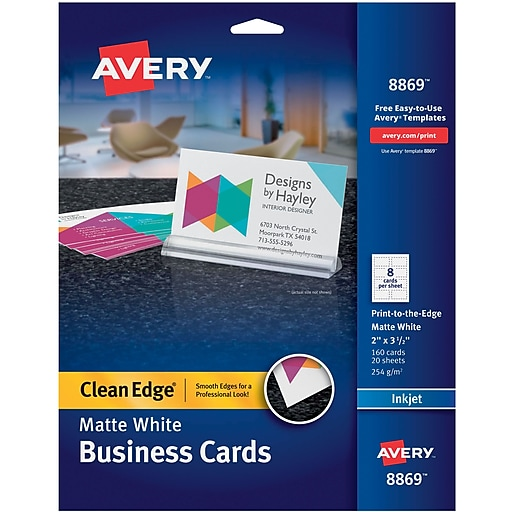 Avery clean edge inkjet print to the edge business cards white httpsstaples 3ps7is reheart Image collections