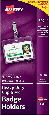 Avery 2921 Horizontal Name Tag Holders, Clear, 50/Pack