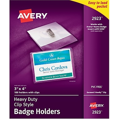 Avery 2923 Horizontal Name Tag Holders, Clear, 100/Pack