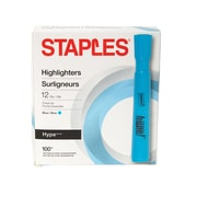STAPLES® HYPE® HIGHLIGHTERS TANK MARKERS, CHISEL, BLUE 12PK (28557)