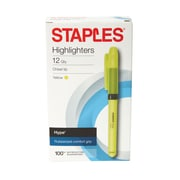 Staples® Hype® Gripped Pen-Style Highlighters, Chisel, Yellow, 12pk (50373)