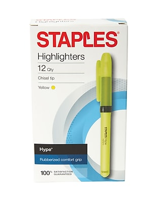 Staples Hype® Gripped Pen-Style Highlighters, Yellow, 12/Pk