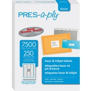 "PRES-a-ply 1"" x 2.63"" Laser Address Labels, White, 250/Pack (30606)"