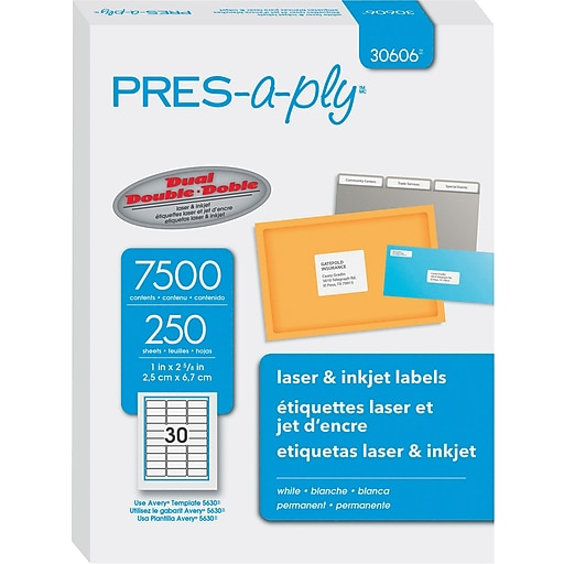 Avery Pres A Ply 1 X 263 Laser Address Labels White 250pack