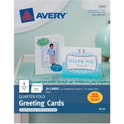 "Avery® Inkjet Quarter-Fold Cards, White, Matte, 4 1/4"" x 5 1/2"""