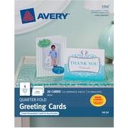 """Avery® Inkjet Quarter-Fold Cards, White, Matte, 4 1/4"""" x 5 1/2"""""""