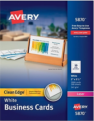 Avery(R) Two-Side Printable Clean Edge(R) Business Cards for Laser Printers 5870, White, Box of 2000