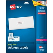 Avery 1 inch x 2.62 inch Laser Easy peel Address Labels, White, 10 Per Pack (18160) by