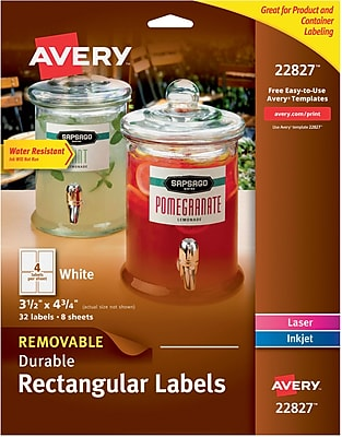 Avery® Removable Rectangle Durable Labels with TrueBlock® Technology, 3 1/2 x 4 3/4, 32/Pack (22827)