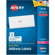 "Avery 1"" x 2.63"" Laser Address Labels, White, 250/Pack (45160)"