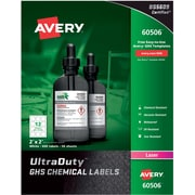 "Avery UltraDuty GHS Chemical Labels for Laser Printers,Waterproof, UV Resistant, 2"" x 2"", Box of 600 (60506)"