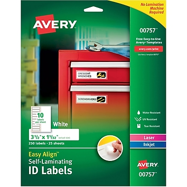 Easy Align(TM) Self-Laminating ID Labels, 00757, 3-1/2