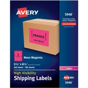 "Avery(R) High-Visibility Shipping Labels 05948, Neon Magenta, 5-1/2"" x 8-1/2"", Pack of 200"