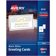 Avery® 8316 Half-Fold Greeting Card, White, Matte