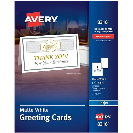 Avery 8316 half fold greeting card white matte staples httpsstaples 3ps7is reheart Image collections