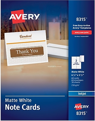 Avery Inkjet Notecards, White, Matte Finish, 60 Pack