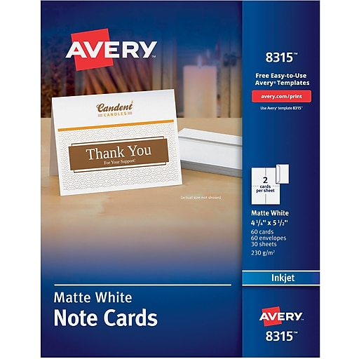 Avery Inkjet Notecards White Matte Finish 60 Pack Staples