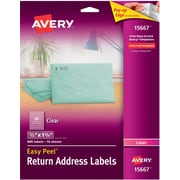 Avery® Easy Peel® 15667 Return Address Label, Clear