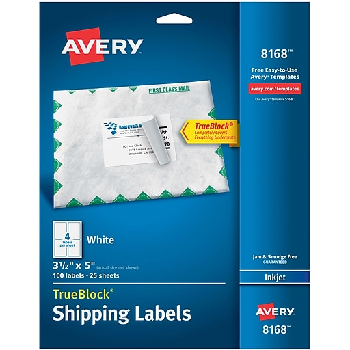 Avery White Shipping Label With TrueBlock Technology - Staples label templates