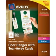 """Avery® Door Hanger with Tear-Away Cards, 4 1/4"""" x 11"""", White, 80/Pack (16150)"""