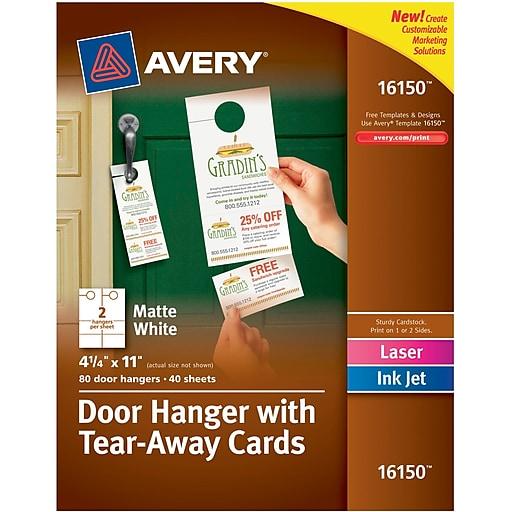 AveryR Door Hanger With Tear Away Cards 4 1 X