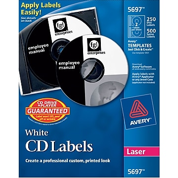 Avery® Matte Laser CD/DVD Labels, White, 250/Pack (AVE5697)