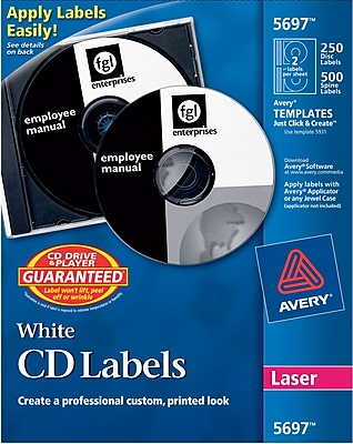 Avery Matte Laser CD/DVD Paper Labels, White, 250/Pack (AVE5697)