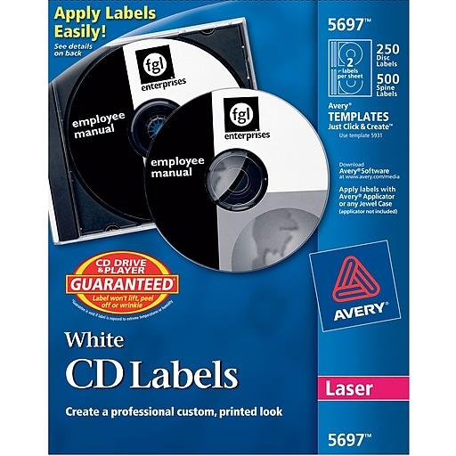 Avery Matte White Cddvd Paper Label 250pack Ave5697 Staples