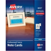 Avery® Embossed Inkjet Notecards, Ivory, Matte Finish, 60 Pack