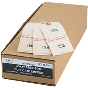 "Avery(R) Duplicate Auto Park Tags 18670, Strung, Manila, 4-3/4"" x 2-3/8"", Pack of 500"