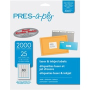 "PRES-a-ply® 0.5"" x 1.75"" Laser Address Labels, White, 25/Pack (30617)"